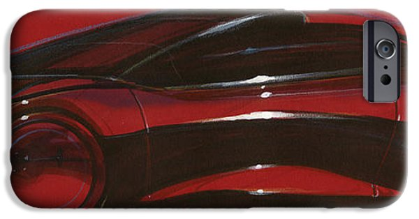 Automotive Pastels iPhone Cases - Black Car on Red iPhone Case by Ritwick Sarkar