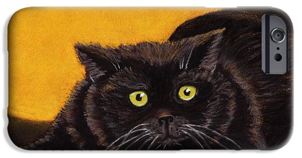 Animal Cards Pastels iPhone Cases - Black Cat iPhone Case by Anastasiya Malakhova