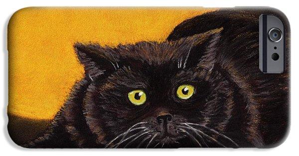 Animal Cards Pastels iPhone Cases - Black Cat iPhone Case by Anastasiya Malakhova