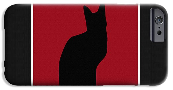 Black Tapestries - Textiles iPhone Cases - Black Cat and Herringbone Duvet 2 iPhone Case by Barbara Griffin