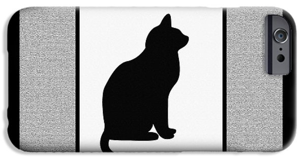 Black Tapestries - Textiles iPhone Cases - Black Cat on Mosaic  iPhone Case by Barbara Griffin