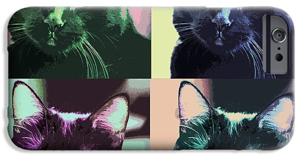Four Animal Faces iPhone Cases - Black Cat Pop Art 2 iPhone Case by Susan Stone