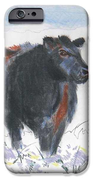 Black Cow Drawing iPhone Case by Mike Jory