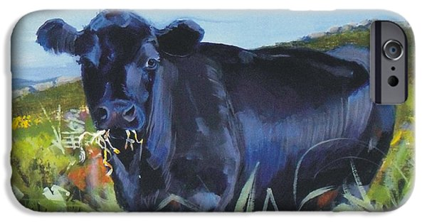 Black Angus iPhone Cases - Cows Dartmoor iPhone Case by Mike Jory