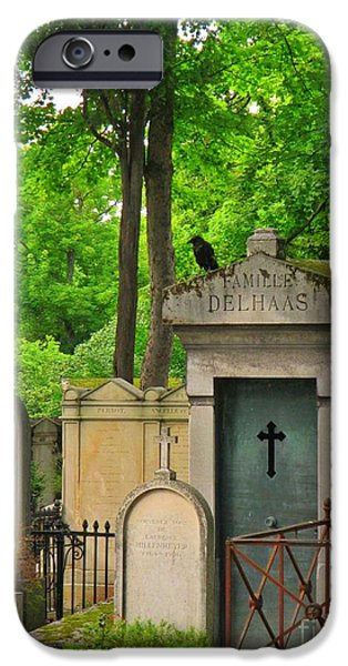 Cemetary iPhone Cases - Black Crow in Paris Cemetary iPhone Case by John Malone