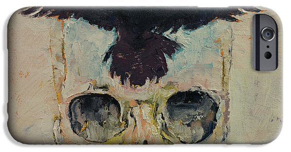 Crow iPhone Cases - Black Crow iPhone Case by Michael Creese