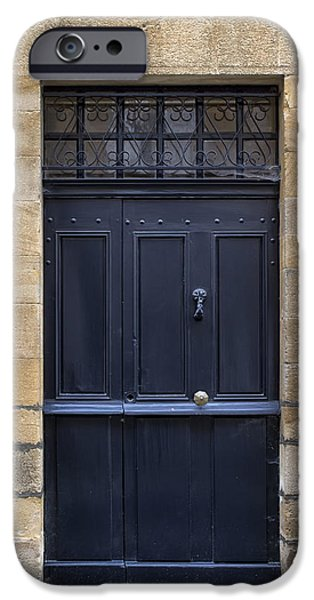 French Doors iPhone Cases - Black Door in Monflanquin iPhone Case by Nomad Art And  Design