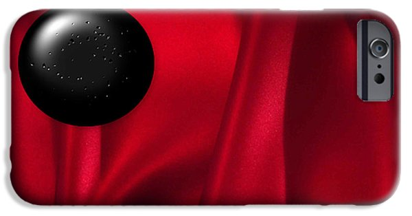 Multimedia iPhone Cases - Black Dot on Red Silk iPhone Case by Tina M Wenger