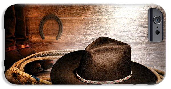 Cowboy Gear iPhone Cases - Black Felt Cowboy Hat iPhone Case by Olivier Le Queinec