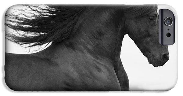 Horse iPhone Cases - Black Friesian Runs iPhone Case by Carol Walker