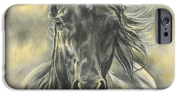 Horse Pastels iPhone Cases - Black Gold iPhone Case by Jana Goode