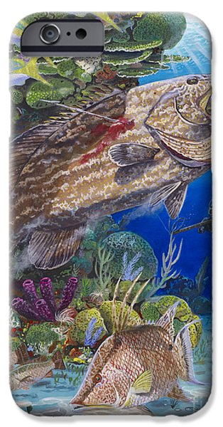 Goliath iPhone Cases - Black Grouper hole iPhone Case by Carey Chen