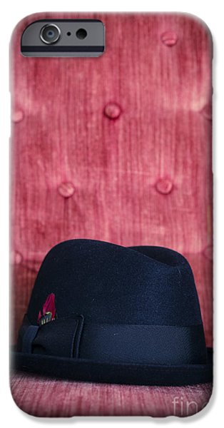 Black Top iPhone Cases - Black hat on red velvet chair iPhone Case by Edward Fielding