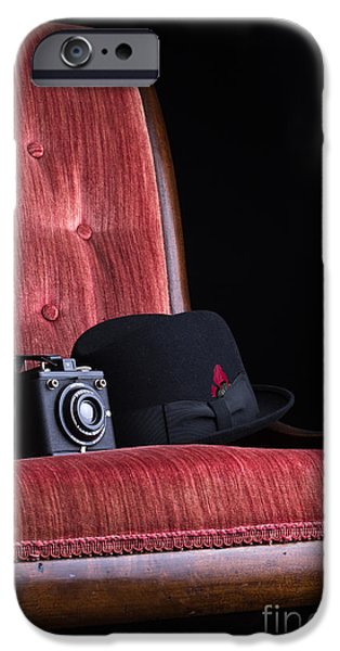 Brownie iPhone Cases - Black hat vintage camera and antique red chair iPhone Case by Edward Fielding