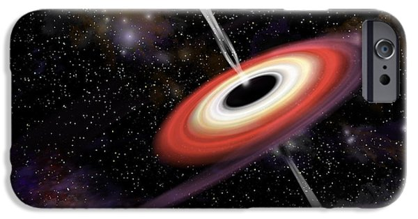Jet Star Mixed Media iPhone Cases - Black Hole 2d iPhone Case by Marc Ward