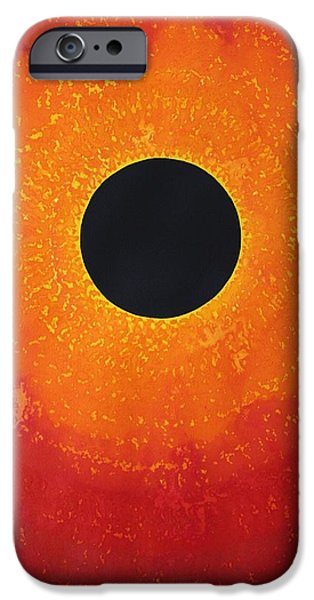 Printmaking iPhone Cases - Black Hole Sun original painting iPhone Case by Sol Luckman