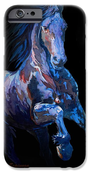 Unique Drawings iPhone Cases - Black Horse In Black iPhone Case by Jose Espinoza