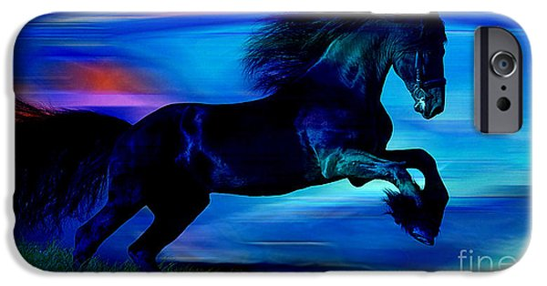 Horse iPhone Cases - Black Horse iPhone Case by Marvin Blaine