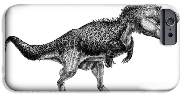 Pen And Ink iPhone Cases - Black Ink Drawing Of Albertosaurus iPhone Case by Vladimir Nikolov