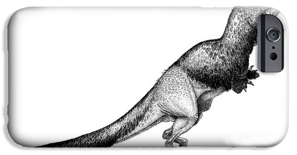 Pen And Ink iPhone Cases - Black Ink Drawing Of Daspletosaurus iPhone Case by Vladimir Nikolov