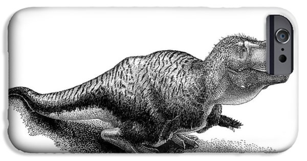 Pen And Ink iPhone Cases - Black Ink Drawing Of Tarbosaurus Bataar iPhone Case by Vladimir Nikolov