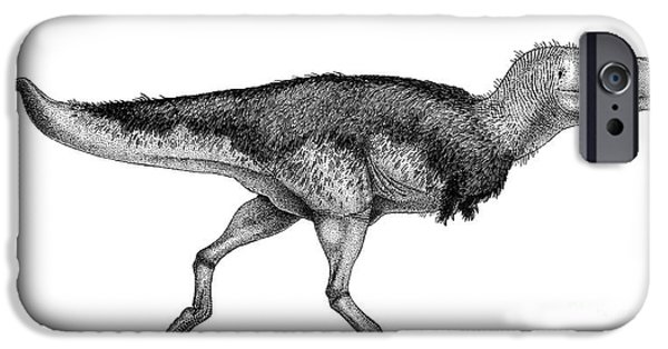 Pen And Ink iPhone Cases - Black Ink Drawing Of Zhuchengtyrannus iPhone Case by Vladimir Nikolov
