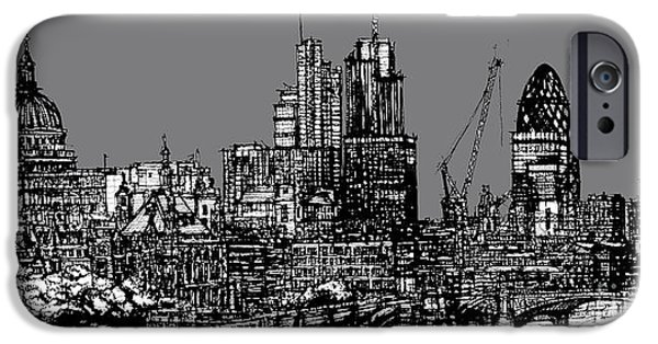 Pen And Ink Illustration iPhone Cases - London skyline with grey sky iPhone Case by Lee-Ann Adendorff