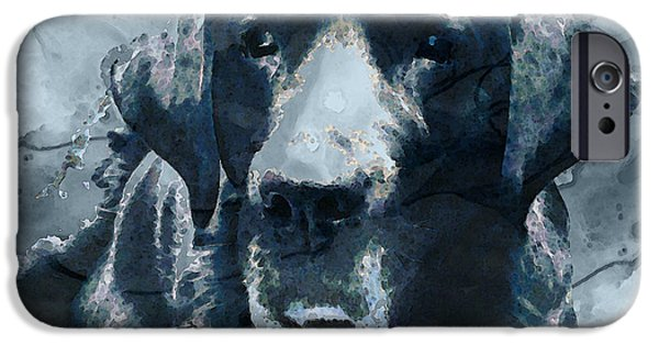 Black Dog iPhone Cases - Black Lab Art - To The Moon And Back - By Sharon Cummings iPhone Case by Sharon Cummings