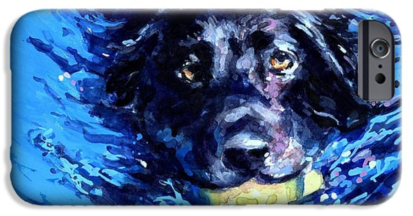 Paddle iPhone Cases - Black Lab  Blue Wake iPhone Case by Molly Poole