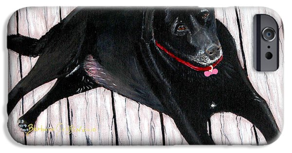 Lazy Red Dog iPhone Cases - Black Labrador  iPhone Case by Barbara Griffin