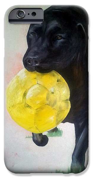 Black Dog iPhone Cases - Black Labrador Commission Painting iPhone Case by I F Abbie Shores
