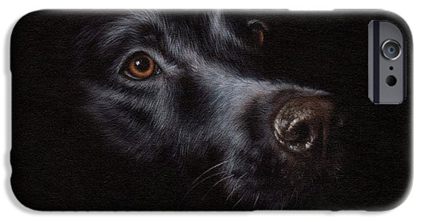 Black Dog iPhone Cases - Black Labrador Painting iPhone Case by Rachel Stribbling