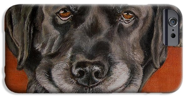 Lab Print iPhone Cases - Black Labrador Rests Head Rescue Dog iPhone Case by Amy Reges