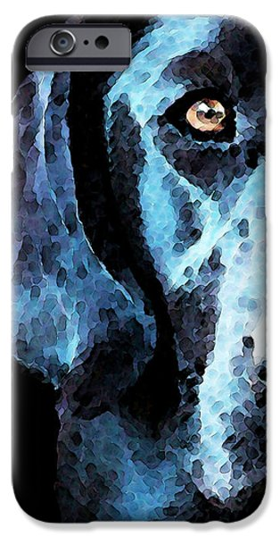 Black Labrador Retriever Dog Art - Hunter iPhone Case by Sharon Cummings