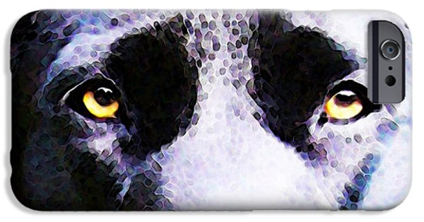 Black Dog iPhone Cases - Black Labrador Retriever Dog Art - Lab Eyes iPhone Case by Sharon Cummings