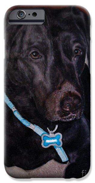 Black Dog iPhone Cases - Black Labrador Retriever drawing iPhone Case by Zina Stromberg