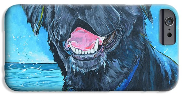 The Pool iPhone Cases - Black Labrador Retriever in the Water iPhone Case by Patti Schermerhorn