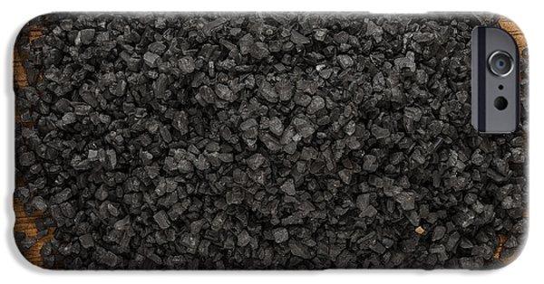 Mounds iPhone Cases - Black Lava Salt iPhone Case by Steve Gadomski