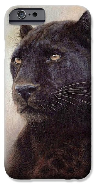 Jaguars iPhone Cases - Black Leopard Painting iPhone Case by Rachel Stribbling