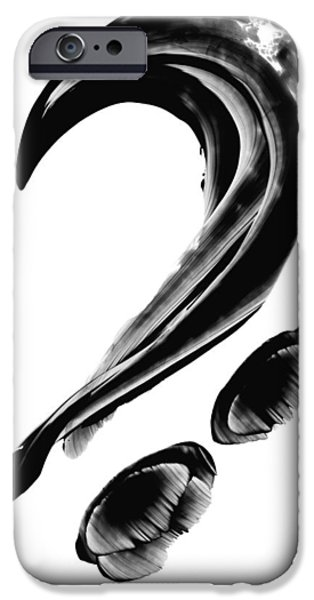 Abstractions iPhone Cases - Black Magic 300 - Black And White Art iPhone Case by Sharon Cummings