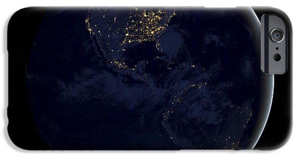 Planet Earth iPhone Cases - Black Marble iPhone Case by Adam Romanowicz