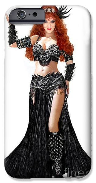 Model Jewelry iPhone Cases - Black Metal fashion by Sofia Metal Queen iPhone Case by Sofia Gothic Queen of Hell