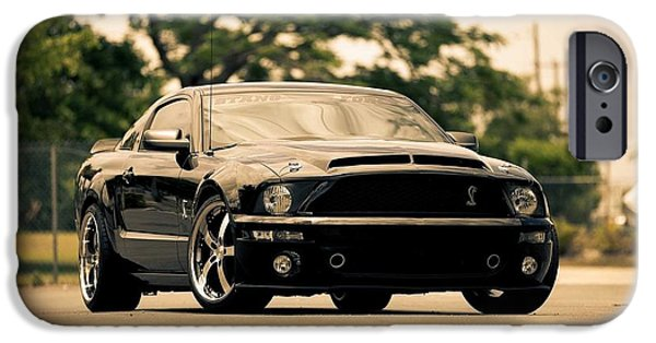 Art Work iPhone Cases - Black Mustang iPhone Case by Art Work