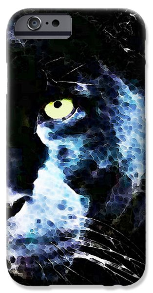 Panther iPhone Cases - Black Panther Art - After Midnight iPhone Case by Sharon Cummings