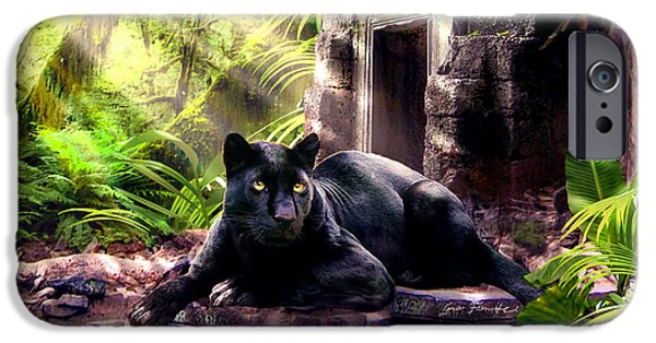 Ancient Paintings iPhone Cases - Black Panther Custodian of Ancient Temple Ruins  iPhone Case by Gina Femrite