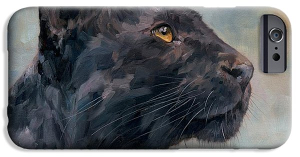 Creatures Paintings iPhone Cases - Black Panther iPhone Case by David Stribbling