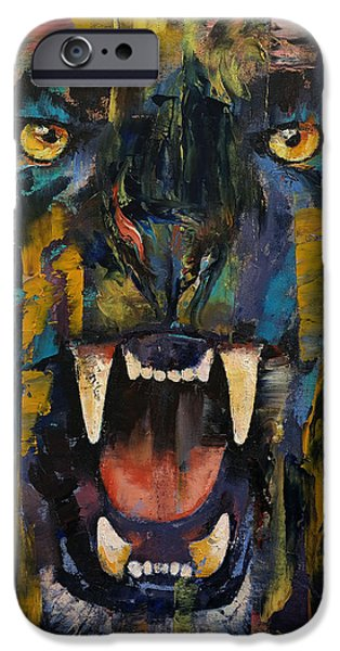 Michael iPhone Cases - Black Panther iPhone Case by Michael Creese