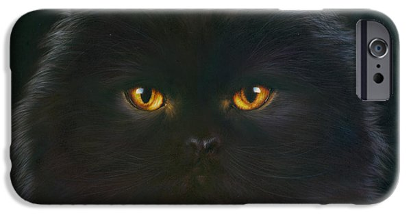 Portrait iPhone Cases - Black Persian iPhone Case by Andrew Farley