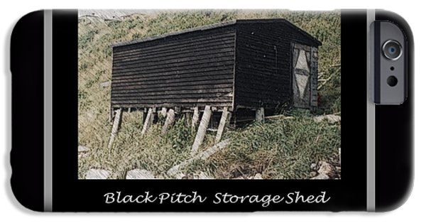 Shed Drawings iPhone Cases - Black Pitch Storage Shed iPhone Case by Barbara Griffin
