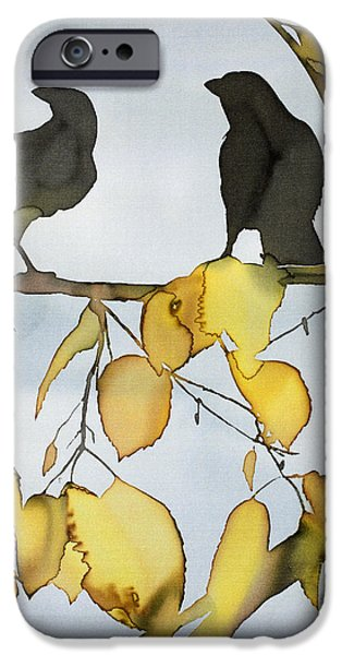 Birds Tapestries - Textiles iPhone Cases - Black Ravens In Birch iPhone Case by Carolyn Doe